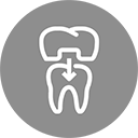 A grey circle with a white stylized, outline drawing of a tooth with a porcelain crown or cap being placed. It is an icon to depict that crowns or caps or bridges are placed at Cosmetic Dentistry of Murfreesboro - a dentist office in Murfreesboro, TN.